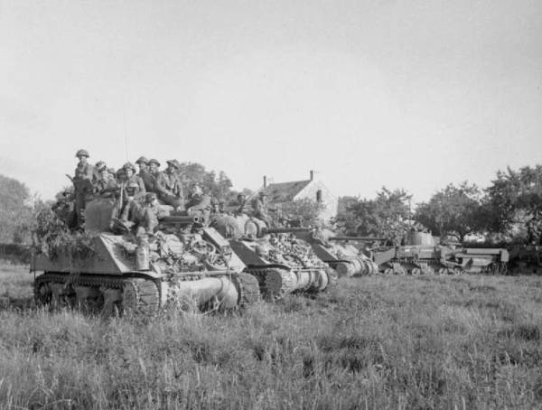 Tanks and Infantry at the start of Operation Goodwood